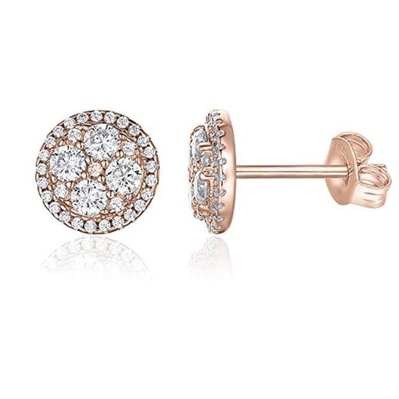 7ffa1e4cca94e 14K Rose Gold Plated CZ Simulated Diamond Earrings NWT